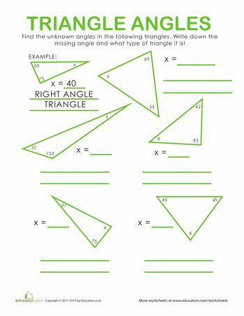 Math Worksheets Angles Of Triangles 5th Grade Geometrytriangle Interior Angles Worksheet Pdf
