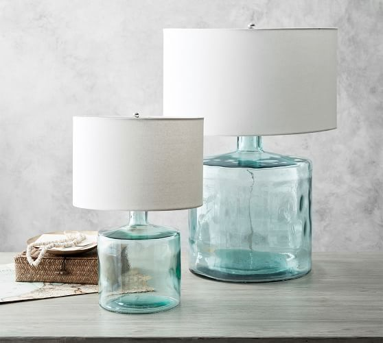 Mallorca Recycled Glass Table Lamp Pottery Barn In 2020 Glass Table Lamp House Of Turquoise Glass Table