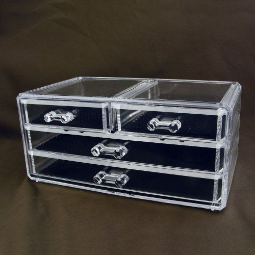 "Acrylic Jewelry & Cosmetic Storage Display Box 9 3/8"" X 5 7/8"" X 4""h - List price: $54.00 Price: $13.50"
