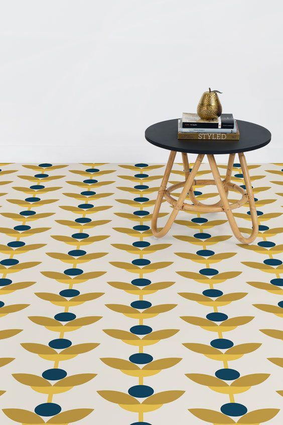 Retro Floral Vinyl Flooring May Is A Retro Floral Vinyl Flooring Design That Features A Geometric Flower Pattern In N In 2020 Vinyl Flooring Flooring Vct Flooring