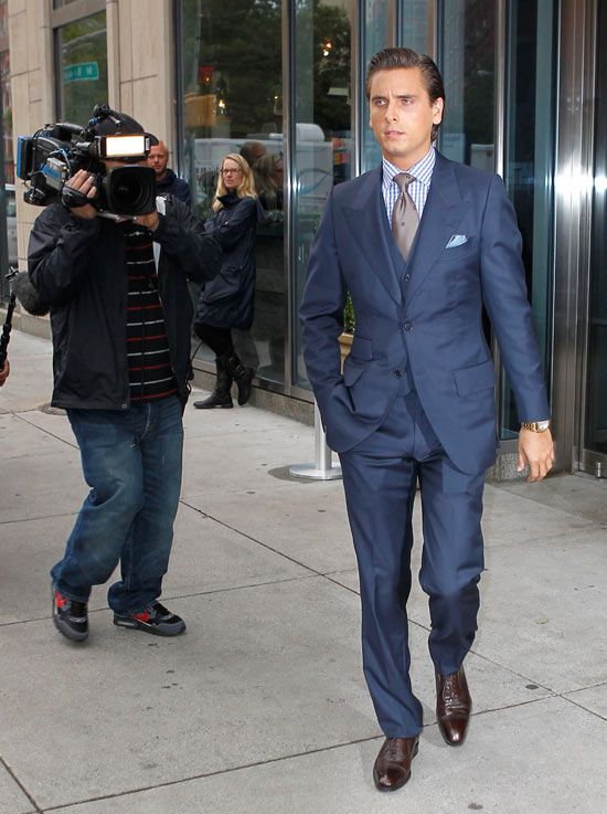 3-piece suit, solid latte-brown tie, and dark brown dress shoes
