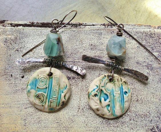 by Sheri Mallery, Clay metal stone artisan handmade earrings by SheriMalleryHandwork