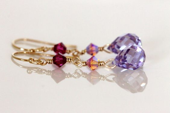 lavender cubic zirconia and swarovski crystal dangle by girlthree
