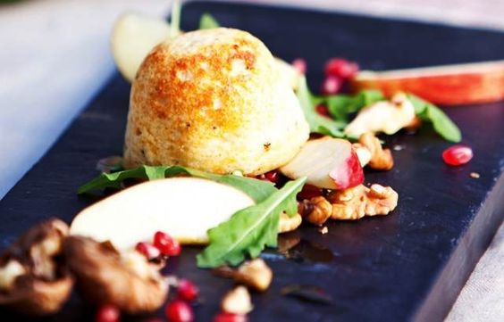 Cheese soufflés with apple, walnut and pomegranate salad - Shaun Rankin