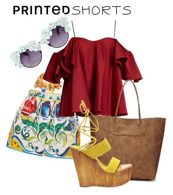 """""""#1"""" by lucijaro ❤ liked on Polyvore featuring Gasoline Glamour, Dolce&Gabbana, Anna October, Steve Madden and printedshorts"""