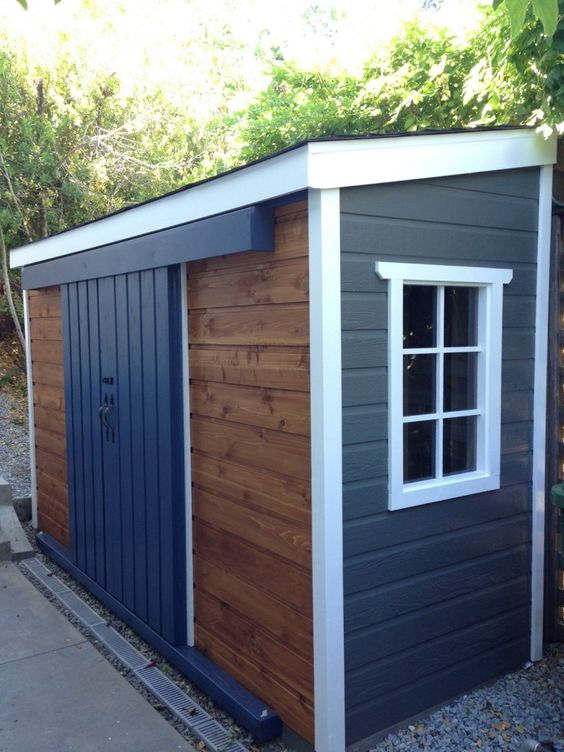 A very unique Sarawak garden shed, can't decide between cedar or maintenance free siding? Mix and match!  #leantoshed #cedargardenshed #smallshed