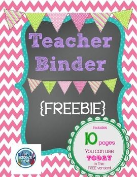 """**FREE** Printable Teacher's Binder ~ chalkboard style!.....Follow for Free """"too-neat-not-to-keep"""" teaching tools & other fun stuff :)"""