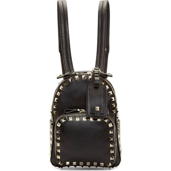 Valentino Black Leather Rockstud Mini Backpack (1,915 NZD) ❤ liked on Polyvore featuring bags, backpacks, studded backpack, leather bags, miniature backpack, backpack bags and valentino bags