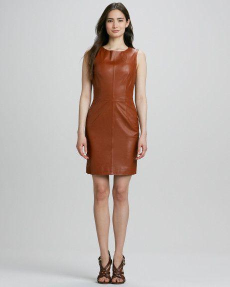 Trina Turk Carnequie Sleeveless Leather Dress in Brown (COGNAC) - Lyst