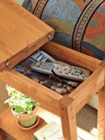 Chairside storage table- small modern narrow table | Solutions