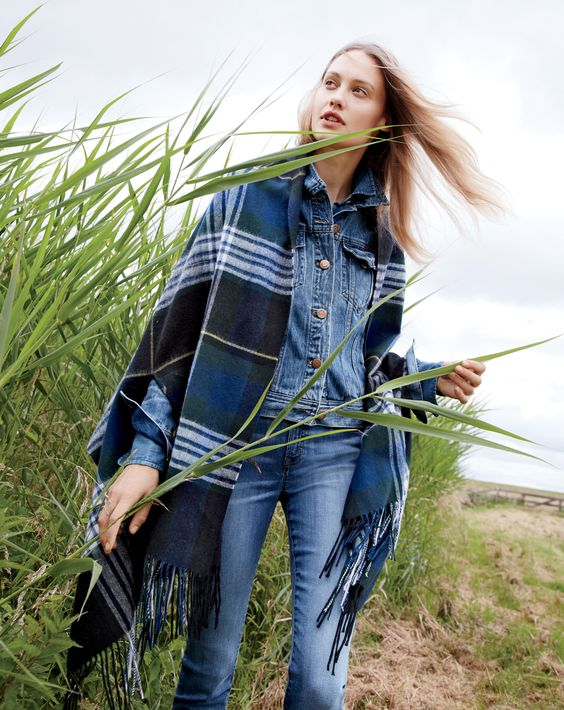 J.Crew Looks We Love: women's cape-scarf, denim jacket in Tyler wash and lookout high-rise jean in Chandler wash.: