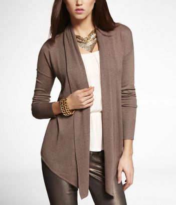 Pointed Hem Open Cover-up Sweater at Express $59.90 in Cool Earth size Small or Medium