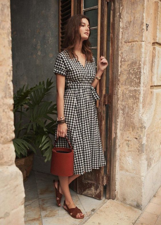 Marielle Gingham Wrap Dress Black and White Midi Length
