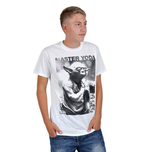 STAR WARS Herren Shirt MASTER YODA PHOTO Weiß Gr. L