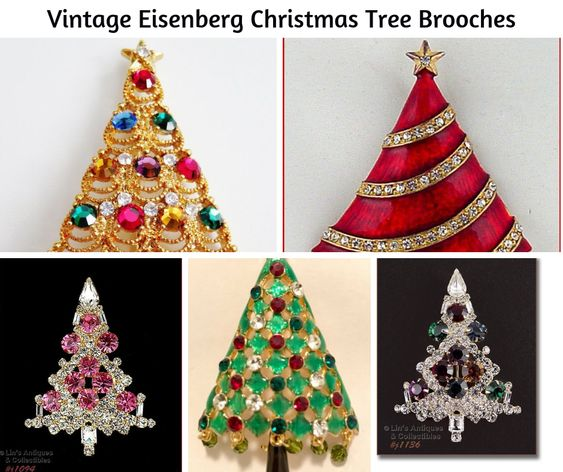 Vintage Eisenberg Christmas Tree Brooches