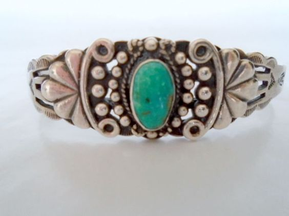1940s Fred Harvey Navajo Silver & Turquoise Cuff Bracelet #Cuff