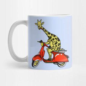 giraffe riding a moped mug