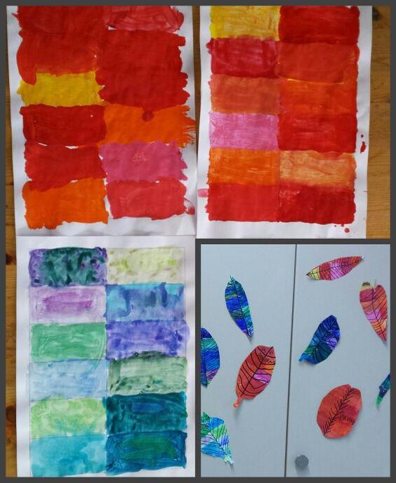 Travail autour des couleurs chaudes et froides avec des 3ème Harmos.   Peinture, pinceau, ciseaux, feutre noir, feuille avec rectangles de même taille.