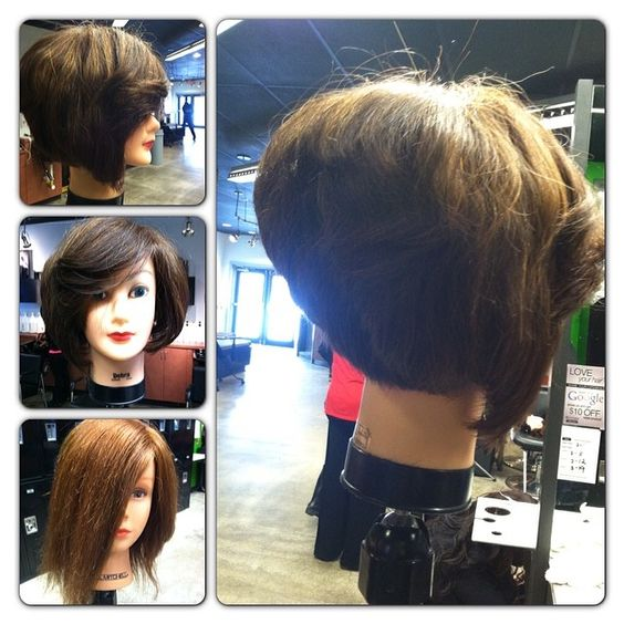 Beautiful tri grad done by Miq! #bob #stacked #trigrad #shorthair #haircut #summerhair2014 #summercut #pmtsbella1 #pmtslife #beautyschool