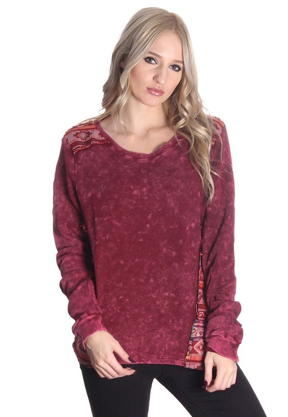 Burgundy Washed Tribal Sweater #wholesale clothing #wholesale ...