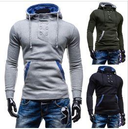Men's Color Block Buttons Hoodies L Re W09