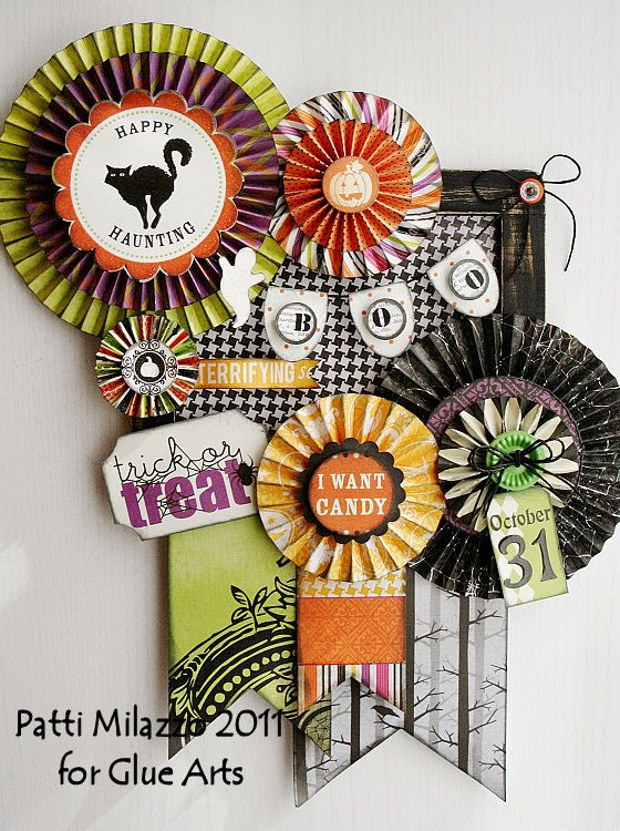 Trick or Treat wall hanging made with #GlueArts Adhesives, #DCWV papers and designed by @Patti Milazzo