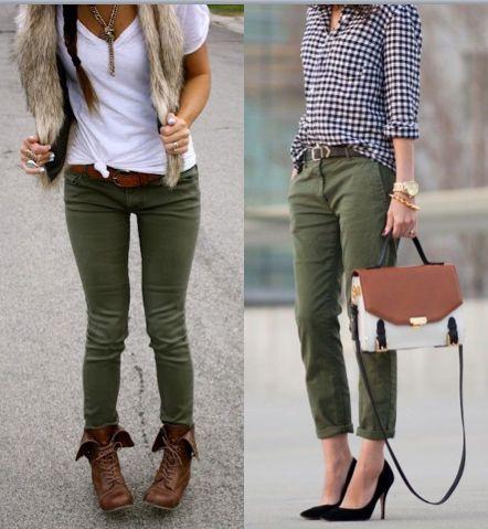 Como usar calça verde militar