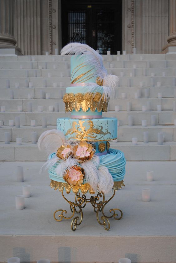 """""""Victorian inspired cake.  The steps of the Oklahoma Heritage center make the perfect back drop."""""""