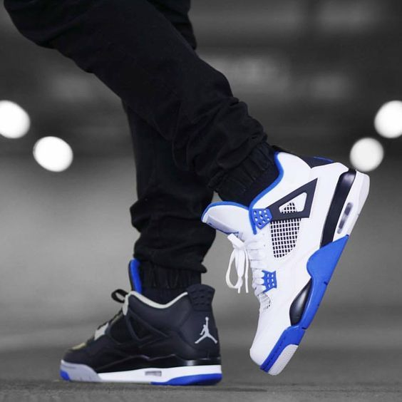 Air Jordan 4 Retro Black And Blue Fashion Nike Shopping Sneakers Shoes Basketballshoes Airjordan F Sneakers Men Fashion Sneakers Fashion Nike Air Shoes