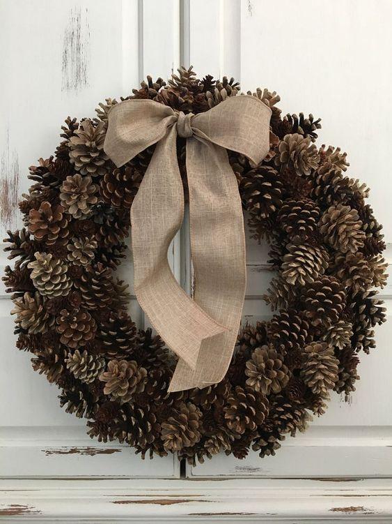 Pinecone Wreath, Front Door Wreath, Autumn Decor, Shabby Chic Wreath, Country Wreath #autumn #decor #front #pinecone #shabby #wreath
