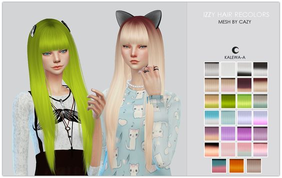 TS4 Izzy RecolorsHi, hey, hello.You guy's have been enormously patient with me and I want to say thank you and I love you all so much, so I'm going to post these earlier for you. You guy's are amazing and I could never ask for anything better. Because you guys are the best. <3This is mostly a recolor than a retexture, the only difference is I smudged the hair texture to make it less sharpie.. I don't know, I think they look cute in my opinion. Most of these colors were inspired by other game…