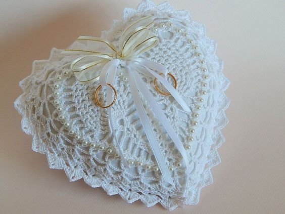 White Heart Shaped Crocheted Lace Ring Bearer by PinkDahliaKnits, $35.00: