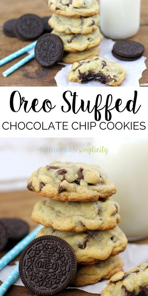 Love Oreos? Then you HAVE to try this Oreo Stuffed Chocolate Chip Cookies recipe. Homemade chocolate chip cookies with an Oreo cookie nestled inside! Yum - the best dessert!