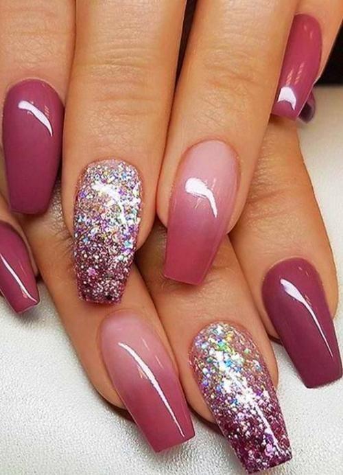 Fall Nail Colors Ombre Nails Glitter Pink Nails Bride Nails