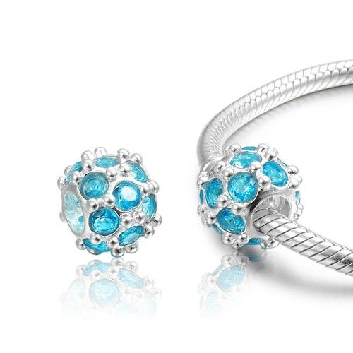 0ffdcd65c ... March Birthstone Light Blue Round Crystal Charm 925 Sterling Silver  Pandora Compatible Places to Visit Pinterest ...