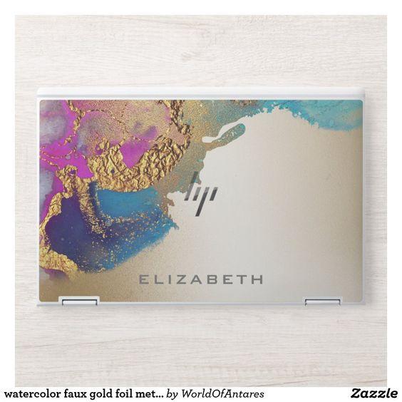 Watercolor Faux Gold Foil Metallic Modern Monogram Hp Laptop Skin Zazzle Com Faux Gold Foil Hp Laptop Skin Custom Laptop Skin