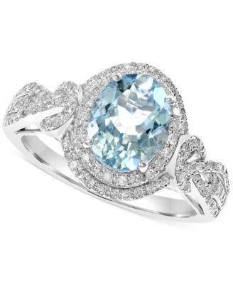 EFFY Aquamarine (1-3/4 ct. t.w.) and Diamond (1/3 ct. t.w.) Ring in 14k White Gold
