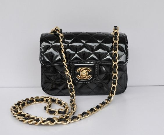 Mini Flap in Black Patent Calf Leather and Gold Chain