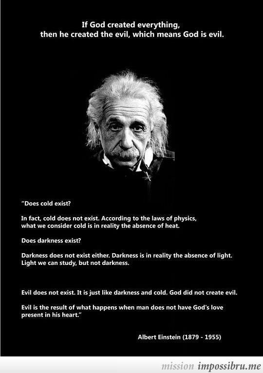 Einstein. God's existence, and evil: