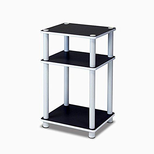 3 Tier Side Table Black Wood White Pvc Plastic Tubes Top Modern Open Shelves Chairside End Table Living Room Accent Furniture Ebook By E White Wood Floors Reclaimed Wood