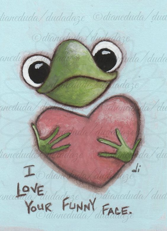 "Original Mini Cereal Box Art Painting with Single Mat  by DUDADAZE, $22.00 ""Funny Face Frog"" ©dianeduda/dudadaze"