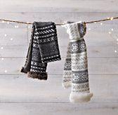 Fair Isle Knit & Luxe Faux Fur  Scarf Grey