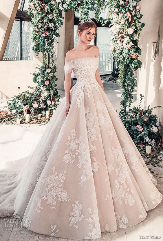tony ward mariee 2019 off the shoulder straight across neckline full embellishment romantic princess blush ball gown a line wedding dress royal train (1) mv -- Tony Ward La Mariée Spring 2019 Wedding Dresses #wedding #bridal #weddings