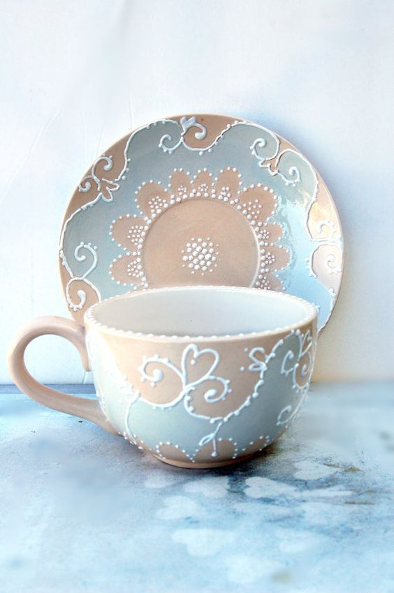 large tea cup and saucer hand painted in shabby chic style. Black Bedroom Furniture Sets. Home Design Ideas