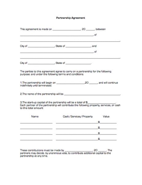 Printable Sample Partnership Agreement Form | Real Estate Forms