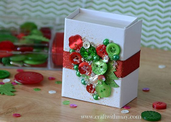 Christmas gift box by May Flaum using 28 Lilac Lane embellishments