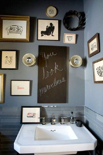 I love this idea but wouldn't forego a mirror in my bathroom.  It might be cute to set a blackboard with some inspiring words behind shelving in a mirrored cabinet though.  Or maybe just use chalkboard paint on the back of the cabinet.