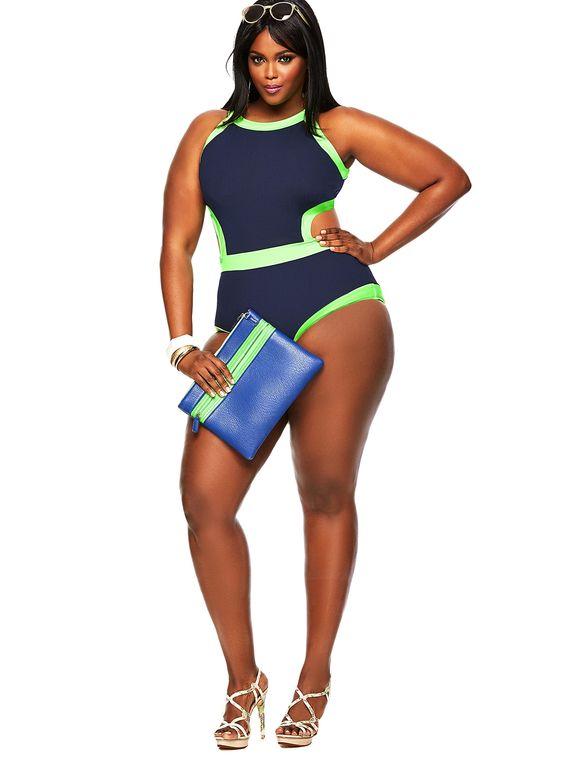 """Cabo"" Monokini Plus Size Swimsuit- Navy/Neon Green - Swimwear - Monif C"