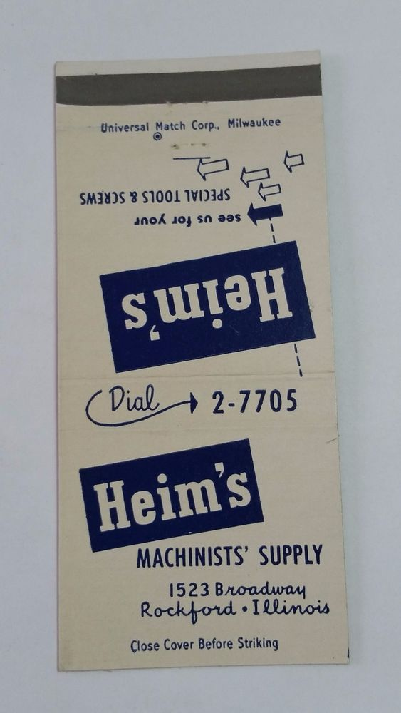 HEIM S MACHINISTS  SUPPLY ROCKFORD ILLINOIS THE ARISTOCRAT #MatchBook Cover  To order your business' own branded #matchbooks or #matchoxes GoTo: www.GetMatches.com or CALL 800.605.7331 to Get The Process Started Today!