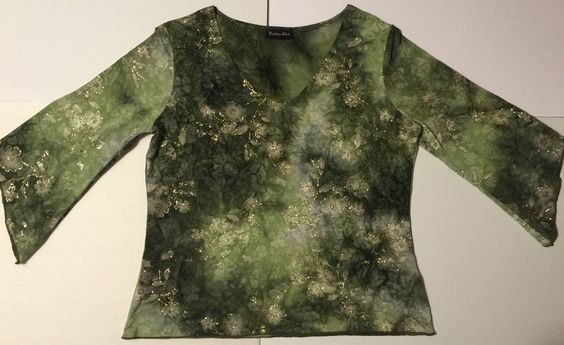 BRITTANY BLACK Sparkly Floral Foil Print 3/4 Sleeve Green Stretch Top Size L #BrittanyBlack #KnitTop #EveningOccasion